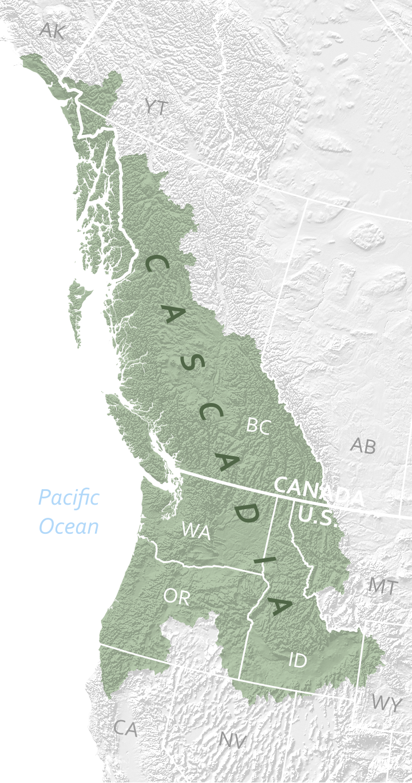 Map of the Cascadia Bioregion