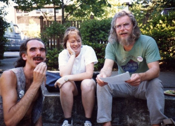 Lancing Scott with Mike at Green Party national gathering in Eugene, OR, 1988. We lived together in a co-op house & worked together on the Portland Alliance, an activist newspaper he had founded.