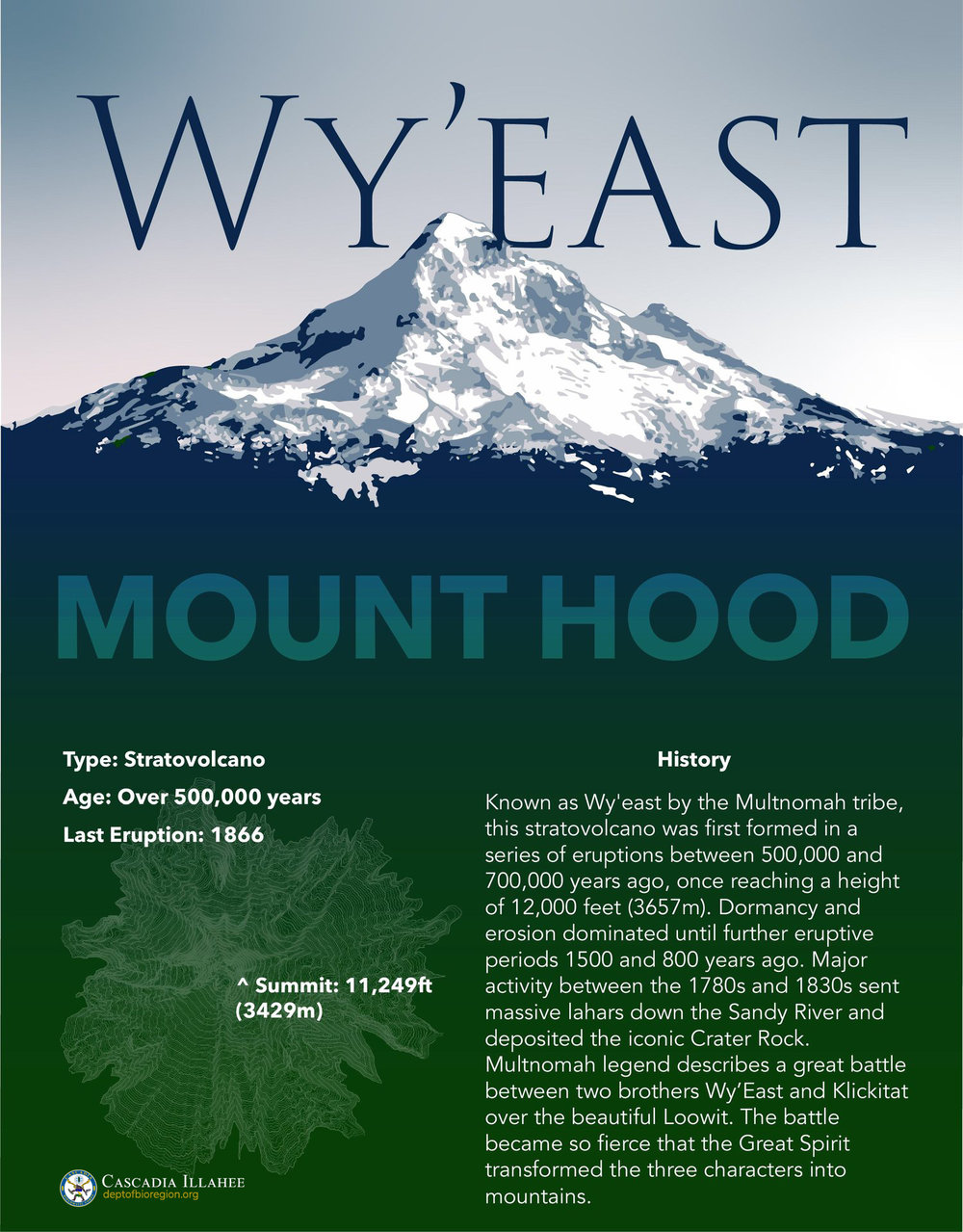 The first in a series of 12 posters featuring the native name for volcanos and features of the Cascade range.