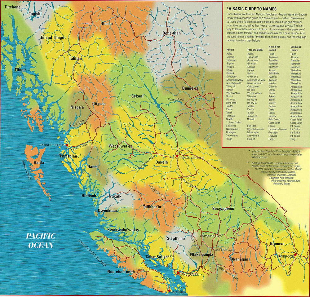 Native Map and Pronunciation Guide for Tribes within the northern and central Cascadia bioregion. Learn more at firstnations.eu